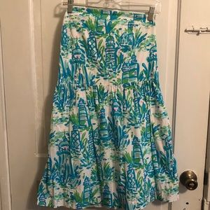 Strapless Lilly Pulitzer Lighthouse Print Dress